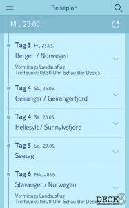 Reiseplan in der Mein Schiff App