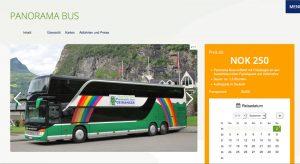 Screenshot der Panoramabus-Website der Geiranger Fjordservice