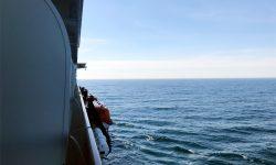 Blick von der Balkonkabine aufs Meer