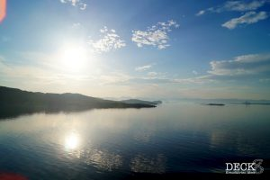 Sonnenaufgang auf dem Weg Richtung Stavanger, bei der Fahrt durch den Schärengarten