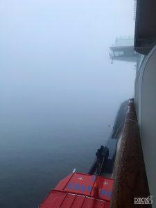 Nebel auf der Ostsee, Blick von Balkonkabine 7043 auf der Mein Schiff 1, Ostsee mit St. Petersburg